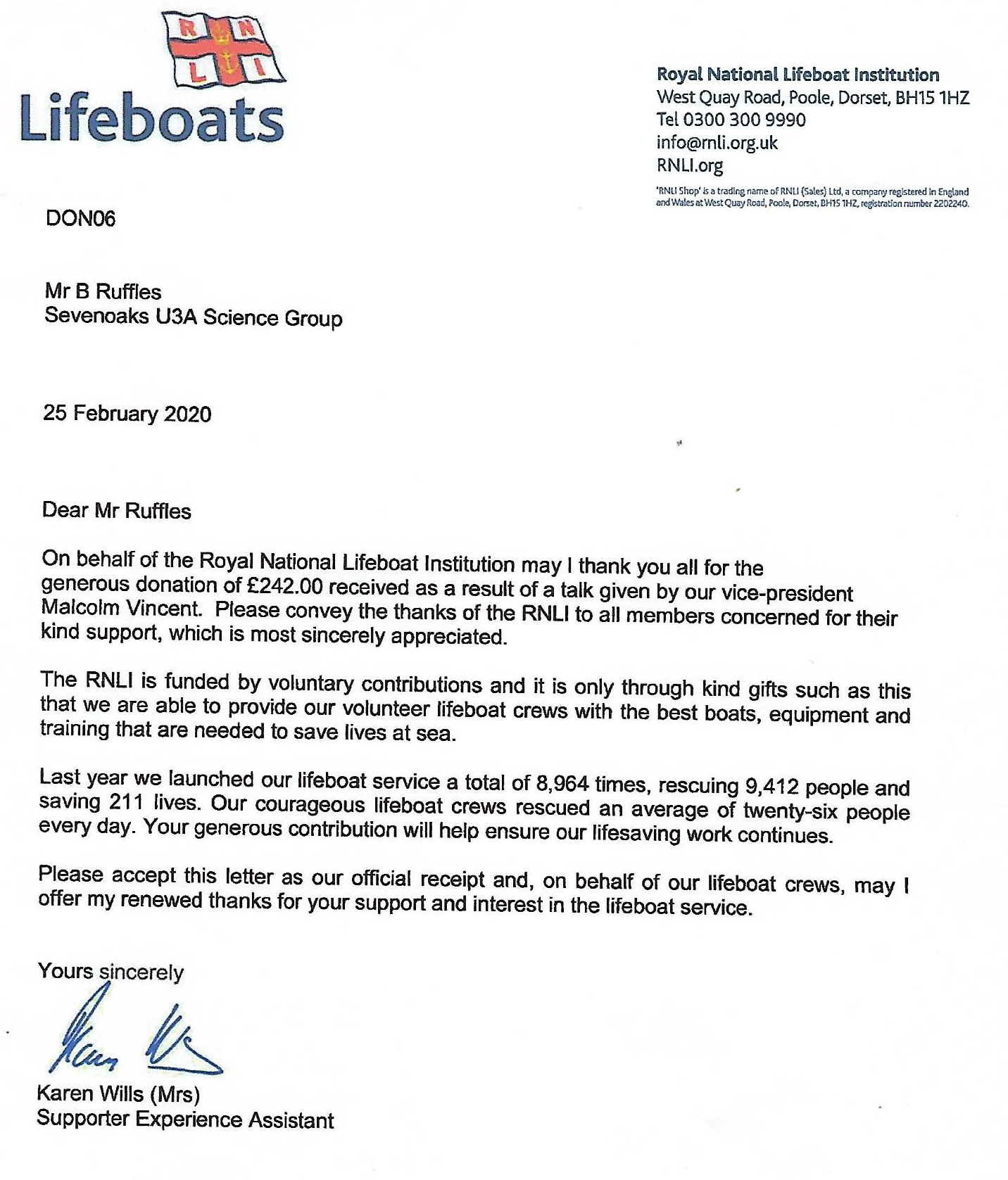 RNLI Thank You Letter